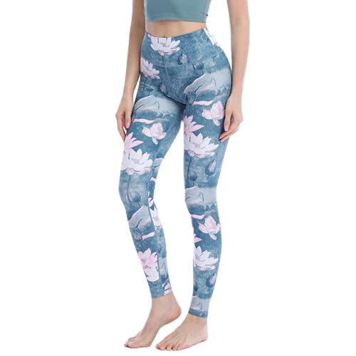 QTJY Lindo patrón de Gato Pantalones de Fitness Pantalones de Yoga Coloridos para Mujer Cintura Alta Ajustados Pantalones de Yoga de Cadera melocotón elásticos G L