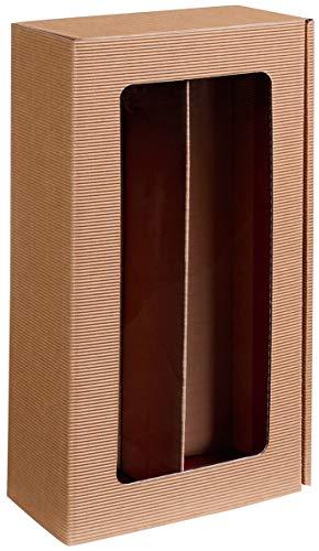10 Stück Passepartout Natur, 2er Weinkarton, Weinverpackung, Flaschenkarton für Zwei Flaschen Wein/Sekt