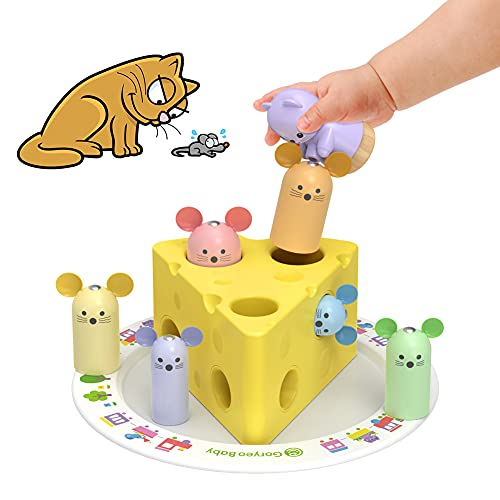 YGJT Juguetes Bebes 1 Año Montessori de Madera Educativos, Juego de Clasificación de Madera para Niños Niñas 12 Meses, Cumpleaños Bebés 1+ Años(Queso)
