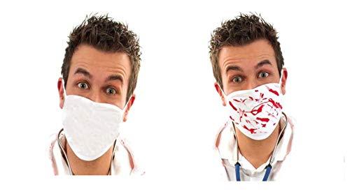 KarnevalsTeufel Mund- und Nasenmaske mit Blut, Behelfs-Mundschutz Mundmaske, weiß, Accessoire, Scherzartikel Halloween