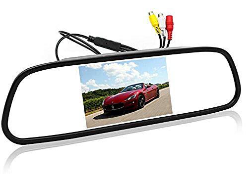 Autospiegel-Monitor – 12,7 cm (5 Zoll) HD 800 x 480 Auflösung Digitaler TFT-LCD-Spiegel Auto Parkplatz Rückfahrmonitor mit 2 Video-Eingängen Anschluss Rück-/Frontkamera