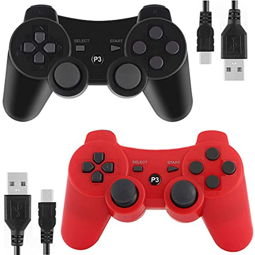 Kolopc Wireless Controller Compatible for PS3 Console, Double Vibration, 6-Axis Gyro Sensor, Upgraded Joystick Motion Gamepad with Charging Cable (Red and Black)