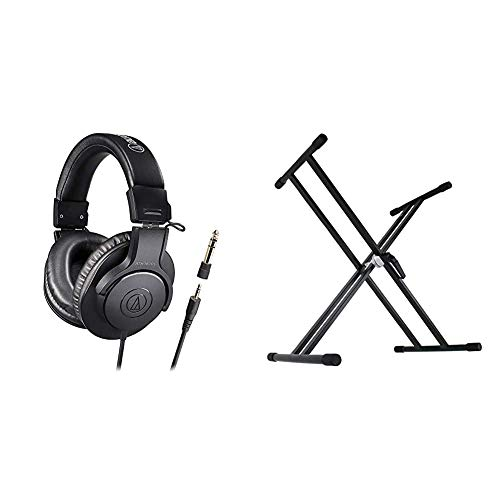 (Amazon.co.jp Exclusive) audio-technica Professional Monitor Headphones ATH-M20x/1.6 Cable Length 5.6 ft (1.6 m) Studio Recording/Instrument Practice/Mixing/DJ/Game & Dicon Audio KS-020 Keyboard Stand X-Shaped Keyboard Stand Double Leg
