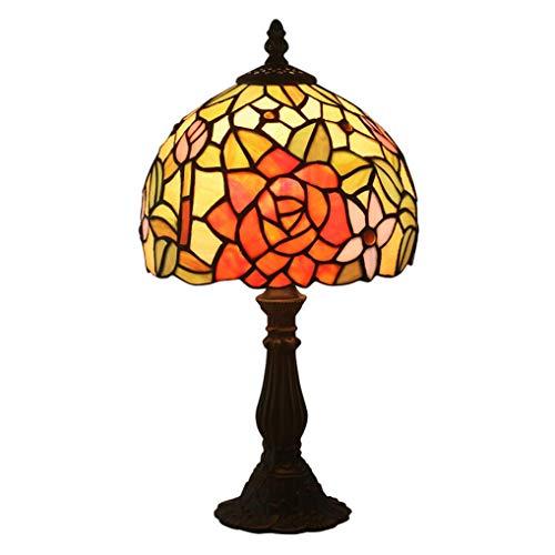 AWCVB Tiffany Vintage Lámpara De Mesa De 8 Pulgadas Lámpara De Vidrieras De 8 Pulgadas Estilo Pastoral Flores Hermosas Flores Noche Luz De Noche Lámpara De Noche
