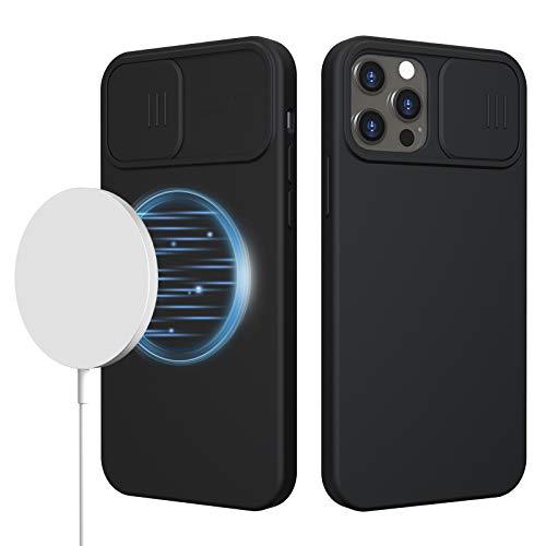imluckies Silikon Hülle Kompatibel für iPhone 12 Pro Max 6.7'', iPhone 12 Pro Max Hülle Silikon mit Slide Kameraschutz, Magnetisch Hülle für iPhone 12 Pro Max 6,7 Zoll 2020 (Schwarz)