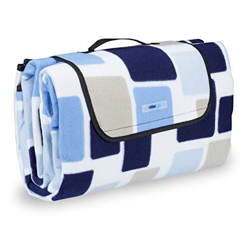 Relaxdays Picknickdecke XXL, 200 x 200 cm, wärmeisoliert, Faltbare Stranddecke, wasserdicht, mit Tragegriff, blau-beige