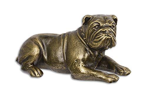 Deko Figur Skulptur Hund englische Bulldogge Gußeisen Antik 26,8 cm