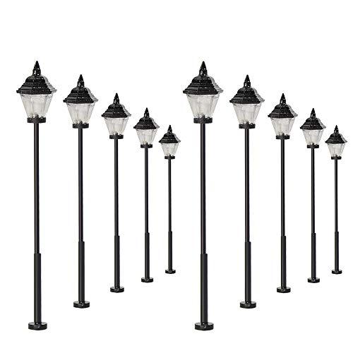Evemodel 10 STK. Modell Bahn Lampe Led Leuchte Strassenlampen 57mm Spur H0 Puppenhaus Bonsai Dekoration