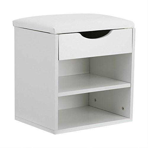ffu Taburete para zapatos, pasillo de entrada en casa, mueble de almacenamiento de zapatos de madera, asiento grueso