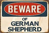 Beware of German Shepherdアルミ8×12メタルレトロな複製ロゴ