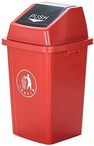 Yxsd Es con tapa de color multifunción colorido hogar residuos cocina gran capacidad exterior cubo de basura limpieza callejera práctica parques basura práctica (color: rojo)