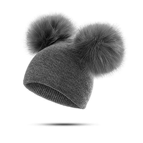 Sombrero para niños, niños pequeños, bebé, cálido, Gorro de Invierno, Gorro de Punto, Gorro con pompón de Piel para bebés y niñas-Grey