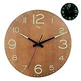 Achort, orologio da parete luminoso a batteria, 30,5 cm, silenzioso, in legno, con luce notturna, numeri 3D, orologio da parete decorativo, per cucina, ufficio, camera da letto
