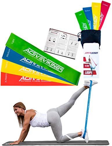Fitnessbänder Set 4-Stärken by ActiveVikings® - Ideal für Muskelaufbau Physiotherapie Pilates Yoga Gymnastik und Crossfit - Fitnessband Gymnastikband Widerstandsbänder