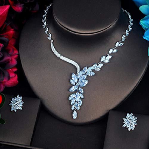 AMINIY Spelly Marquise Cut Women Cubic Zirconia Juego de Joyas Collar Pendiente Conjuntos Fiesta de cumpleaños (Color : Platinum Plated)
