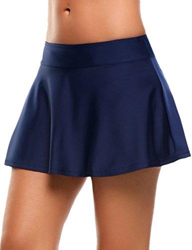 Skine Badeshorts Damen Bikini Rock Strand Rock mit integrierter Hose Hohe Taille Mini Bikinihosen Bottom Mit Short, Dunkle Blau, XX-Large