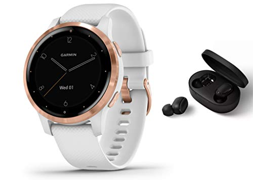 Garmin Vivoactive 4S schlanke, wasserdichte GPS-Fitness-Smartwatch mit Trainingsplänen & animierten Übungen, Weiß/Roségold + BT Headset