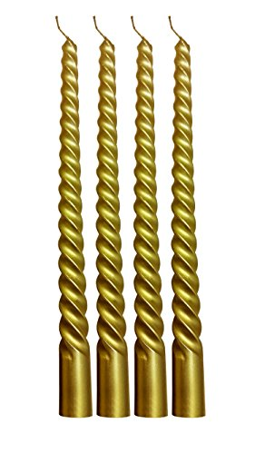 Metallic Wax Taper Candle Sticks Swirl Design Rich & Elelgant 10 Inches Tall set of 4 (Gold)