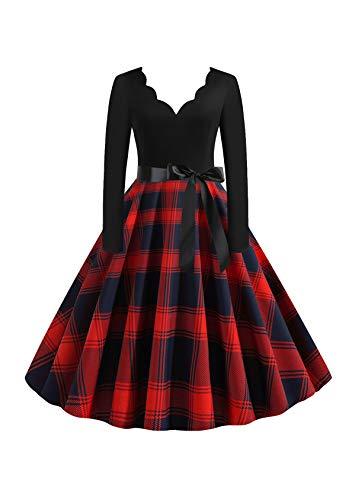 EFOFEI Vestido de mujer para Navidad, Halloween, fiesta, manga larga, línea A, falda grande, vestido de cóctel, fiesta, festival, carnaval y vestido con lazo Vg-rojo azul L