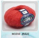 LINGE 25G / Ball Feelings Thin Mohair Wool Wool Plush Wool Crochet Hand Knitting, 10 sandía