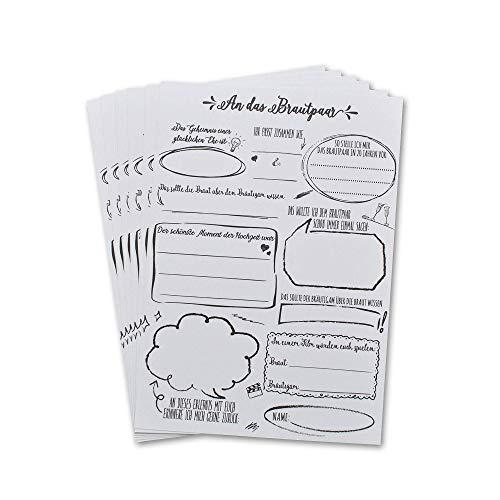 30 Gästebuch Hochzeit Karten für Hochzeit, lustige Fragen zum ausfüllen & einkleben, Alternative