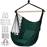 Y- STOP Hammock Chair Hanging Rope Swing - Max 320 Lbs - 2 Seat Cushions Included - Quality Cotton Weave for Superior Comfort & Durability (Green)