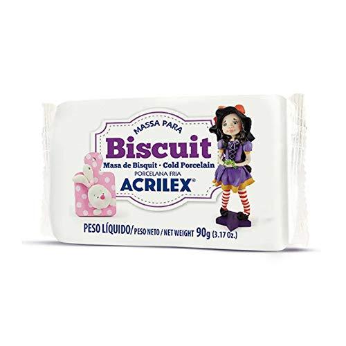 Massa Para Biscuit, Acrilex, 90 Gramas, Branco