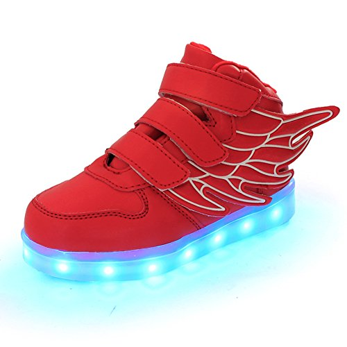 SLEVEL LED Light Up Shoes USB Flashing Sneakers for Kids Boys Girls(34Red9)
