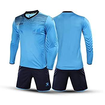 KELME Men Padded Goalkeeper Jersey and Shorts Youth Soccer Goalie Shirt Long Sleeve Adult Keeper Uniform Kit Blue M