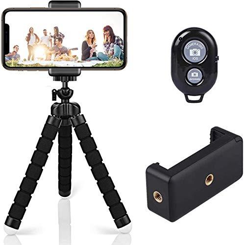 Trípode para teléfono móvil, trípode para cámara, control remoto por Bluetooth, trípode flexible, palo selfie para y cualquier smartphone, incluye soporte para teléfono móvil, trípode, pulpo