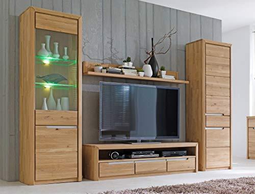 Wohnwand Pisa 31 Eiche Bianco massiv 4-teilig Medienwand TV-Wand Wohnzimmer TV-Möbel