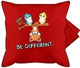 Shirtracer Statement Kissen mit Sprüchen - Be Different Roter Panda Vögel - Unisize - Rot - Vogel - GURLI Kissenhülle - Kissenbezug 50x50 cm und Dekokissen Bezug