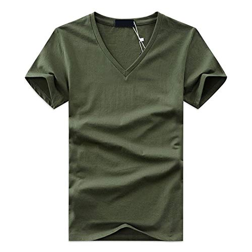 UNUStyle Men'S T Shirts Casual,Short Sleeve V Neck Tee Multipack,Fitness Basic Cotton Summer Tops,5Pcs,Army Green,M