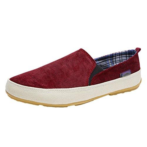 Dooxi Uomo Elegante Piatto Scarpe da Barca Casuale Scivolare Penny Loafers Scarpe Rosso 40