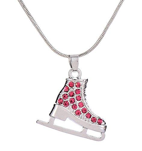 My Shape versilbert 3D Schlittschuh rot Kristall Strass Anhänger Skating Halskette für Mädchen Jugendliche Frauen