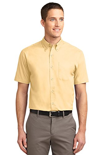 Port Authority Men's Short Sleeve Easy Care Shirt. M Yellow