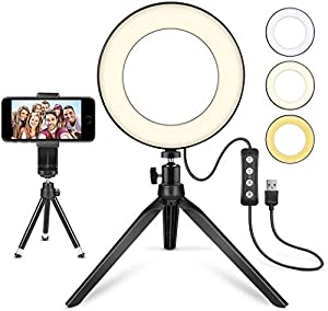 """LED Ring Light 6"""" with Tripod Stand for YouTube Video and Makeup, Mini LED Camera Light with Cell Phone Holder Desktop LED Lamp with 3 Light Modes & 11 Brightness Level (6"""")"""