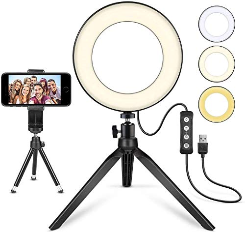 LED Ring Light 6″ with Tripod Stand for YouTube Video and Makeup, Mini LED Camera Light with Cell Phone Holder Desktop LED Lamp with 3 Light Modes & 11 Brightness Level (6″)