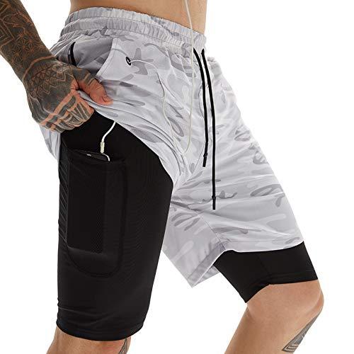 AIEOE Pantaloneta Running Hombre de Ejercicio Holgados Tela Resistente de Baloncesto Tenis Musculación Maratón al Aire Libre - Gris XXXL