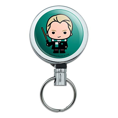 Harry Potter Draco Cute Chibi Character Heavy Duty Metal Retractable Reel ID Badge Key Card Tag Holder with Belt Clip