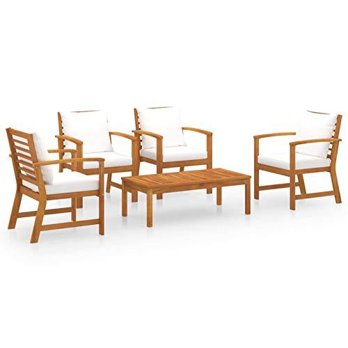 Tidyard Conjuntos de Muebles de jardín Muebles de jardín 5 Piezas Cojines Madera Maciza de Acacia