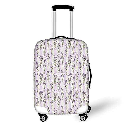 Travel Luggage Beschermhoes, wasmachine, strepen en bloemen met paspels, romantische Country Home Decoratie, Spring Season, violet, voor reizen, Veelkleurig (Veelkleurig) - GUUi