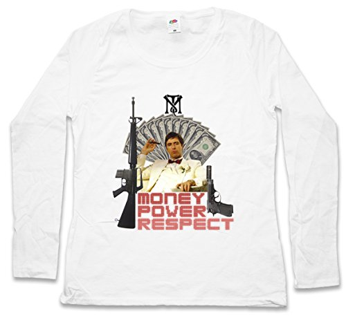 Urban Backwoods Money Power Respect Tony Montana II Women T-Shirt Mujer Camiseta de Manga Larga Blanco Talla XS