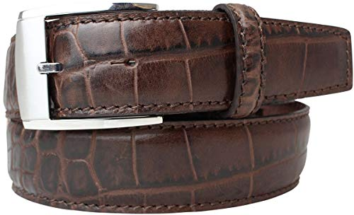 Gürtel mit Krokoprägung 3,5 cm   Leder-Gürtel für Damen Herren 35mm Kroko-Optik   Kroko-Muster Schnalle Silber   Braun 90cm