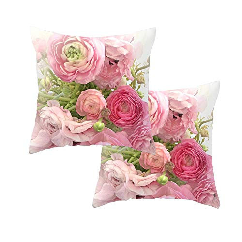 FCOZM Decorative Throw Pillow Covers 18 x 18 for Couch Set of 2 Mediterranean Style Rose Pillow Cases Soft Pillowcase (C2)