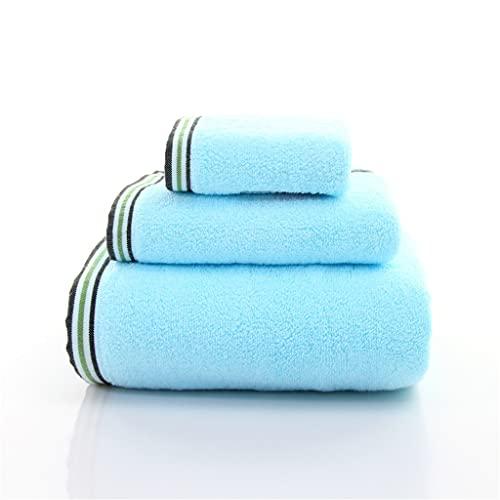 ZAIZAI Juego de Toallas absorbentes de Sarga de algodón 100%, Toallas de baño para Adultos, Toallas de baño Suaves, cómodas y Transpirables, Juego de 3 Piezas (Color : Blue)