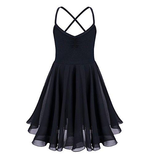 TiaoBug Kinder Mädchen Ballettkleid Ballettanzug Ballett Trikot Kleid mit Chiffon Rock in Weiß Schwarz Rosa Lavender Schwarz 128-140