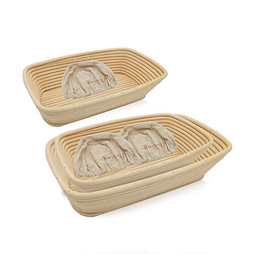 Rectangle Proofing Basket, Pure Natural Rattan Banneton Proofing Basket Suitable for Professionals and Home Bakers, hehuangTech Proofing Baskets for Bread Baking. (9 Inch + 12 Inch + 13 Inch)