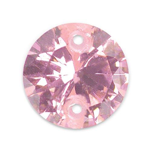 Artistic Wire Beadalon CZ-Gem Dropz Round 6mm 2-Hole, Pink, 5-Piece
