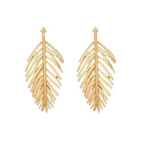 Pendientes de tuerca con diseño de hoja dorada para mujer